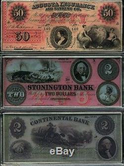 Premier Billets De Banque De L'amérique Colorisés 4oz. Ensemble Complet De 15 Barres D'argent 999