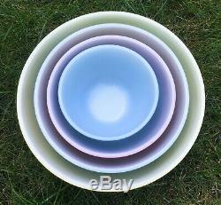 Pyrex Couleurs Primaires Mixing Nesting Bowls Set Bleu Vert Jaune Rouge Terminer Wow