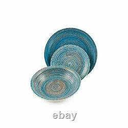 Rustique Stoneware Dinner Set 18 Pcs Multi Color Dinnerware Kitchen Plates Bowls