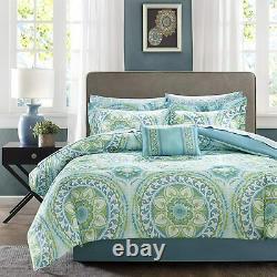 Serenity Complete Comforter And Cotton Sheet Set Aqua/multi-color Nouveau