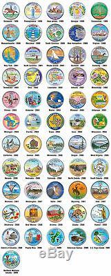 Set Complet Des 56 État Des États-unis Statehood Quarters Coins Colorisée 119 $ Nouveau