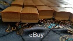 Set Complet Grand Vintage Bambou Et Coloration Os Mahjong Carreaux Excellente