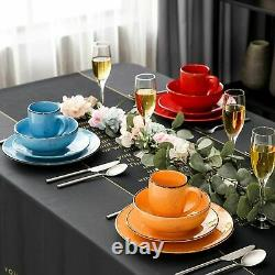 Stoneware Vintage Look Dinner Set Multi-colour 16pc Crockery Plates Bowls Tasses