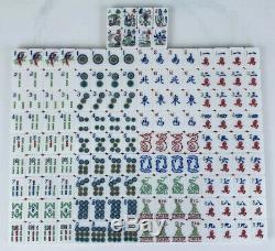 Vintage De Tri Couleur Lucite Mah Jong Set Bakélite Racks 1960 152 Carreaux Complet