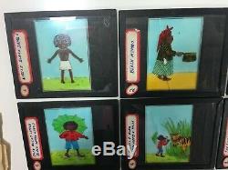 Vintage Little Black Sambo Lanterne Magique Complete 27 Verre Jeu De Diapos Avec L'histoire