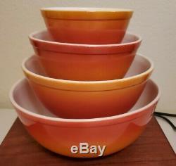 Vintage Mixing Pyrex Flameglo / Nesting Bowls Jeu Complet De 4 Couleurs D'automne