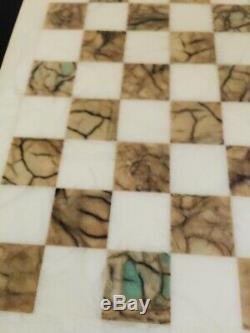 Vintage Old Marble Jeu D'échecs De Couleur Ivoire Ensemble Complet Preowned14.5 Pouces Conseil