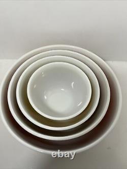 Vintage Pyrex Americana Couleurs D'automne Mélanger Nesting Bowls Ensemble Complet 4 Rare