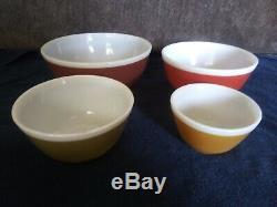 Vintage Pyrex Couleurs Americana-automne Mélange / Nesting Bowls Jeu Complet De 4-rare