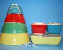 Vintage Pyrex Couleurs Primaires Jatte Et Réfrigérateur Ensembles Complets Vaisselle