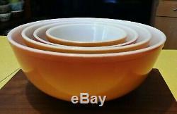 Vintage Pyrex Flameglo Mélange / Nesting Bowls Set Complet Couleurs D'automne
