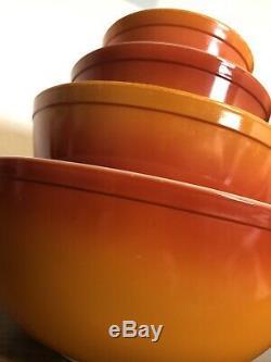 Vintage Pyrex Flameglo Mixing / Nesting Bowls Set Complet Couleurs D'automne