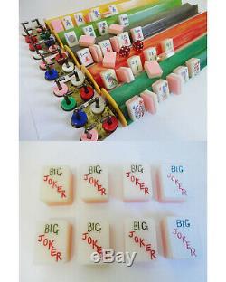 Vintage Tri Color Lucite Mah Jong Set Racks À Bakelite Des Années 1960 152 Tuiles Completes