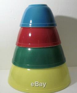 Vtg Pyrex Complete Set 4 Bols Gigognes À Mélanger Primary Colors 401-404 Superb Euc
