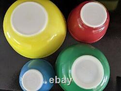 Vtg Pyrex Primary Colors Mixing Bowls & Refrigerator Dishes. Ensemble Complet De 12 Pc